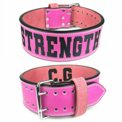 custom-leather-weightlifting-belt-pink-suede-silver-double-prong-buckle