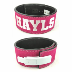 custom-leather-weightlifting-belt-pink-suede-white-lever