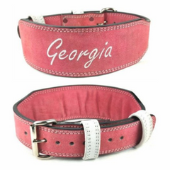 custom-leather-weightlifting-belt-pink-suede-white-text-training-silver-single-prong-buckle