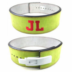 custom-leather-weightlifting-belt-green-suede-white-red-text