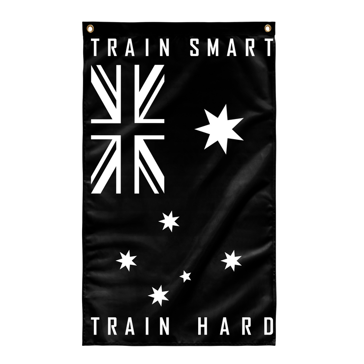 Anvil Australian Gym Flag - Train Smart Train Hard Rear View