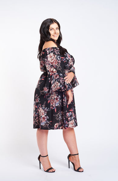 Kavya Black Floral Dress
