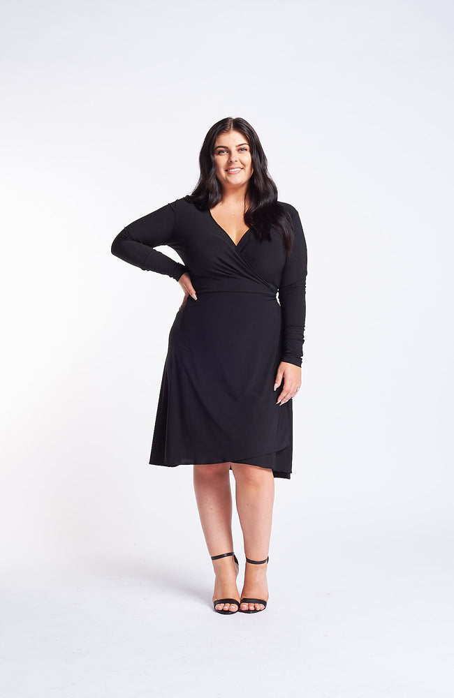 Kaia Black Wrap Dress