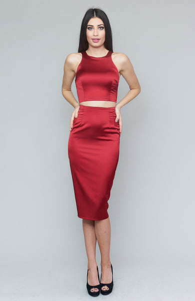 Bernetta Cranberry Satin Skirt