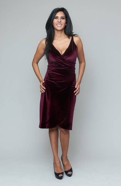 Kasha Merlot Velvet Dress
