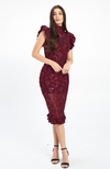 Venezia Burgundy Lace Dress