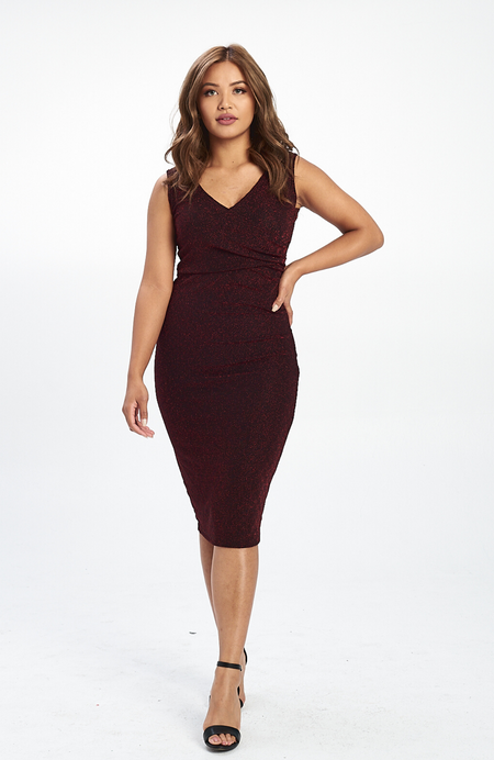 Venezia Burgundy Lace Dress Ivory
