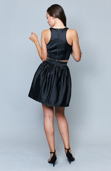 Babette Black Satin Skirt