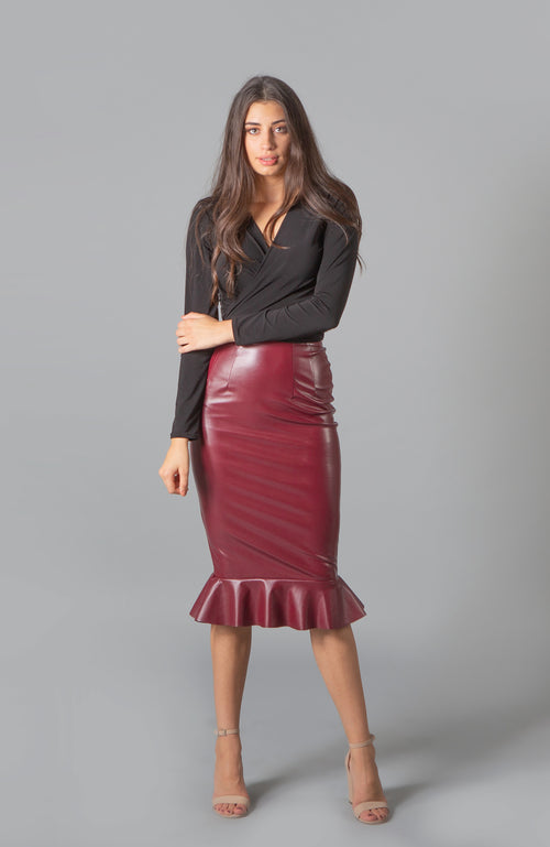 Blaze Malbec Merlot Vegan Leather Skirt