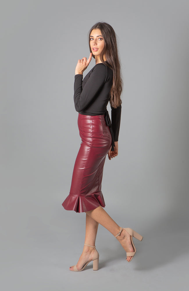 Blaze Malbec Vegan Leather Skirt