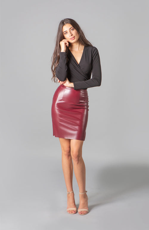 Bianca Malbec Merlot Vegan Leather Skirt