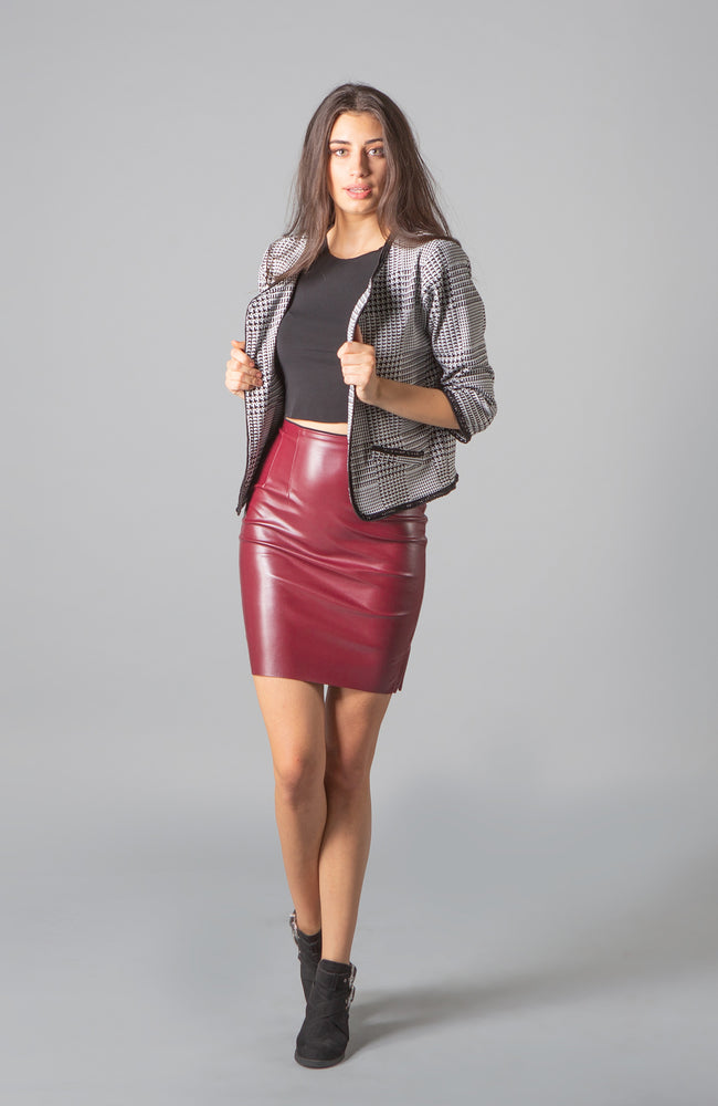 Bianca Malbec Vegan Leather Skirt