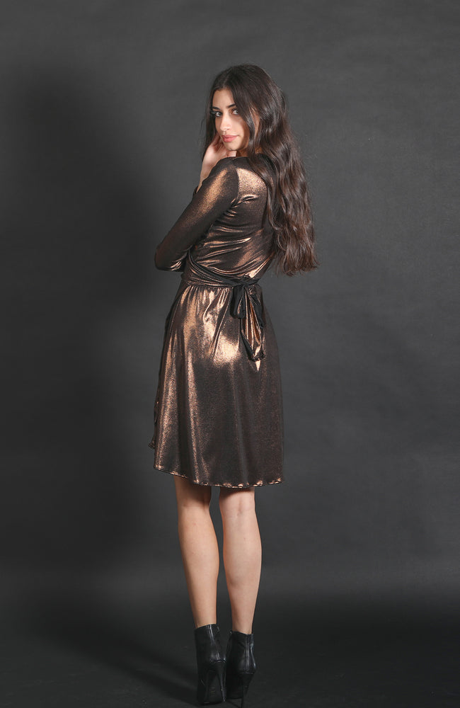 Kaia Metallic Wrap Dress