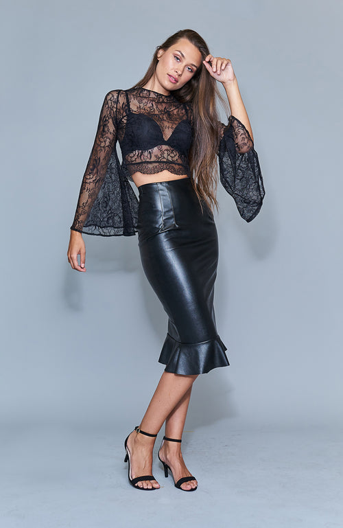 Blaze Vegan Leather Skirt