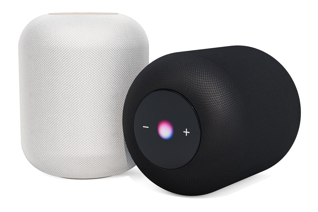Black and white smart speakers