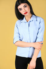 Layered sleeves Blue Shirt