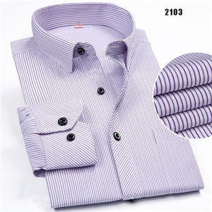2019 New non-iron regular fit men loose long sleeve business men shirts easy care striped/plaid dot floral tops for male