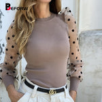 BEFORW 2019 Casual Dot Print Mesh Puff Sleeve Transparent Knitted Sweater Pullover Fall Winter Women Turtleneck Sweater Top