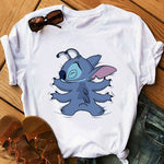 Cute  Casual Tops Women Fashion T Shirt Stitch Harajuku Kawaii Tshirts Lovely Cartoon Female Printed Casual T Shirt