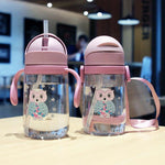 420mL Water Cup Cute With Straw Portable Student Juice Water Drinking Bottle Outdoor Sport School Kids Gift Boys Girls Cartoon