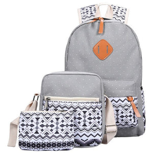 ZHIERNA 3Pcs/Sets Korean Casual Women Pack Vintage Canvas Book Bag School Backpack for Teenage Girls Composite Bag Fashion Cute