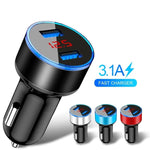 3.1A Dual USB Car Charger With LED Display Universal Mobile Phone Car-Charger for Xiaomi Samsung S8 iPhone 6 6s 7 8 Plus Tablet