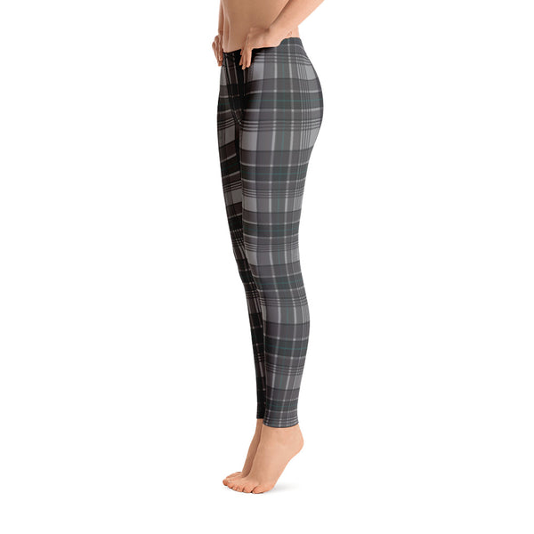 Mad About Plaid Leggings in Black and Turquoise