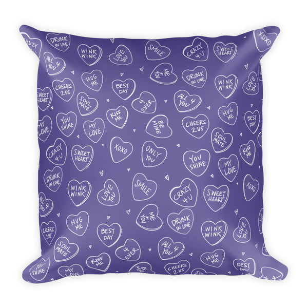 XOXO Ultra Violet Candy Hearts Pillow