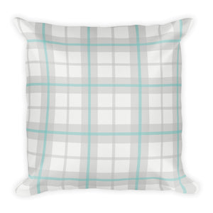 Ice Blue Plaid Pillow