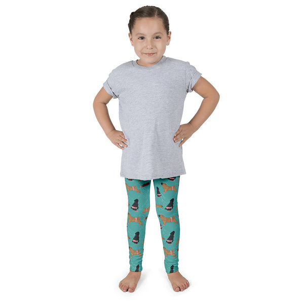 Shar Pei Ballet Leggings for Kids in Teal