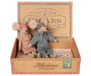 Mouse Mum & Dad in Cigar Box