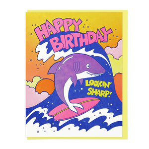 Lookin' Sharp Birthday Shark Letterpress Card