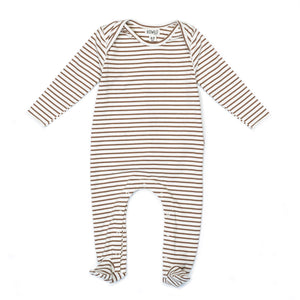 Organic Footed Jumper Caramel Stripe
