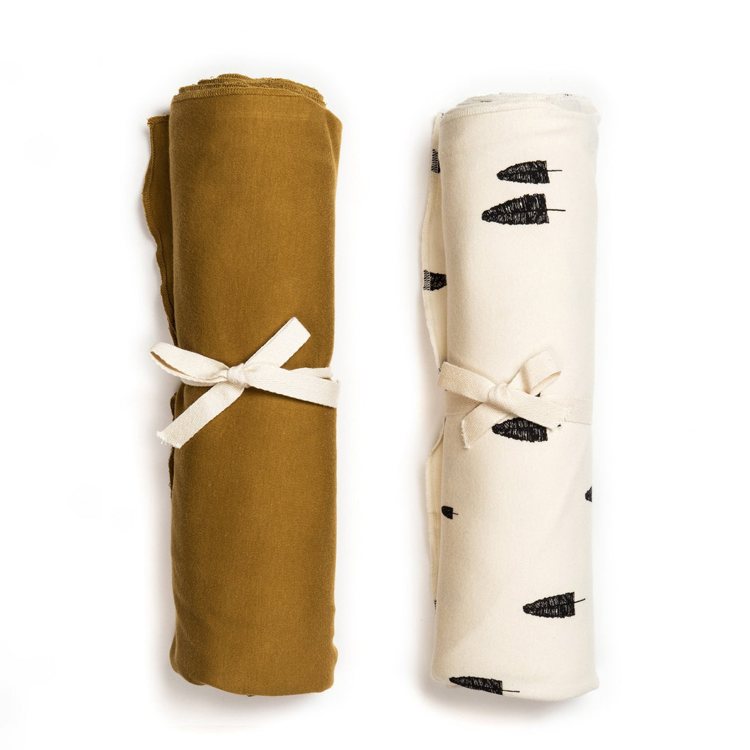Organic Swaddle Blanket Set - Ochre & Forest