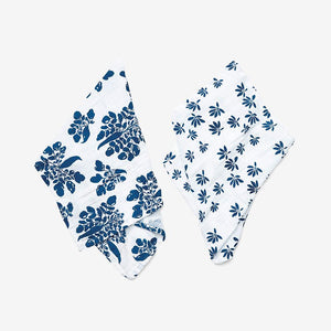 Organic Burp Cloth Set, Palm + Parsnip Captain's Blue