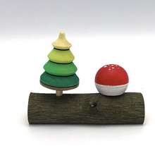 Tree and Mushroom Spinning Tops with Stand