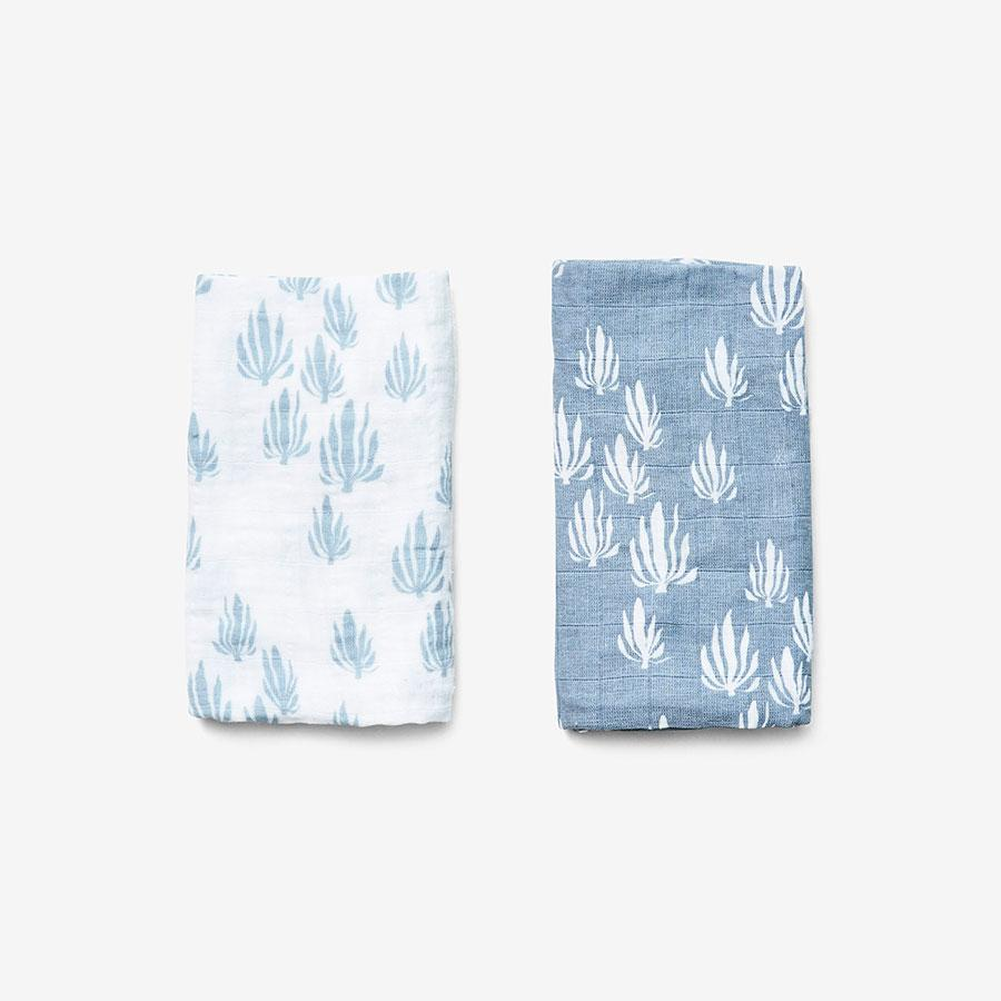 Organic Burp Cloth Set, Seaweed Bay Blue