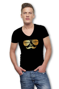 Short Sleeves V-Neck T-Shirt - Black and Gold - Men