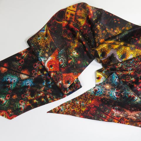 Double-sided Silk Satin Fractal Patchwork scarf