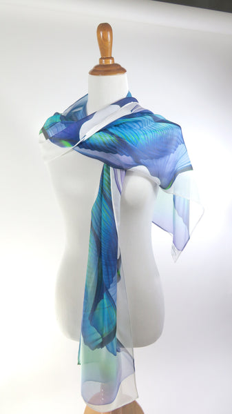Unique gift for Woman, Wings Series 9 Scarf, White Sheer Scarf Silk Chiffon