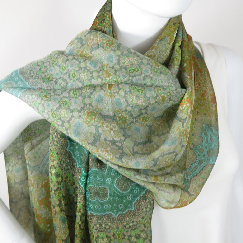 "Sage Green Shawl, Silk Scarves for Women,  Unique Gifts for women,  ""Orient"", Meditation shawl, Fractal 