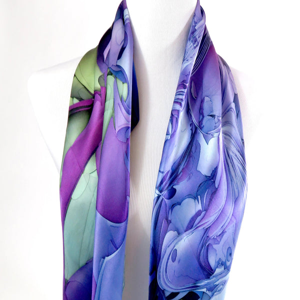 "Violet Silk Scarf for women, 36"" Square Silk Satin"