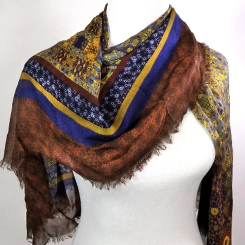 Large Square Silk-Modal Shawl in Brown, Blue and Gold, gift for woman - ScarvesByEllen