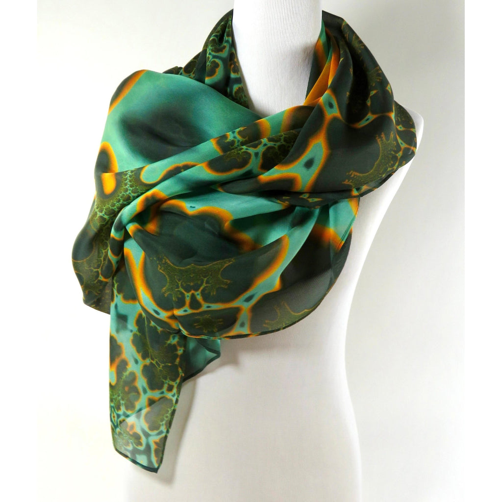 Big Green and Gold Sheer Silk Scarf, Rectangular Silk Fractal Scarf, Unique gift for women, Coverup, Short Shawl, festival scarf -ScarvesByEllen