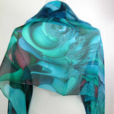"Blue Green Silk Shawl, Wide Silk Scarf 70"" x 26"" sheer blue chiffon wrap for women, gift for wife, retirement gift, thank you gift -ScarvesByEllen"