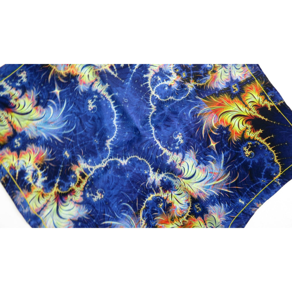 "Blue Silk Scarf for Woman ""Azimuth"", 17"" Small Square neckerchief with hand-rolled hem, purse scarf, wrist scarf -ScarvesByEllen"