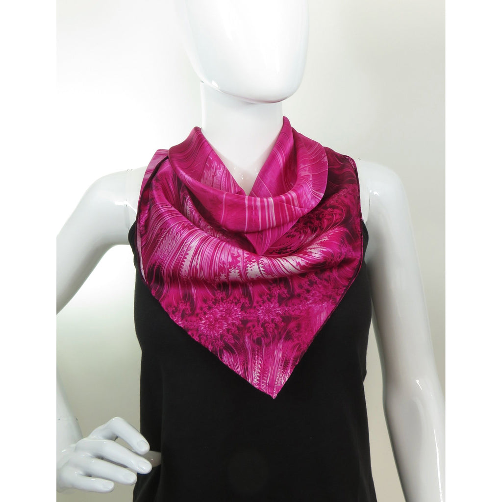 "Bright Pink Silk Bandana 26"" square scarf, silk satin, fractal design, gift for woman, holiday color, scarf for woman -ScarvesByEllen"
