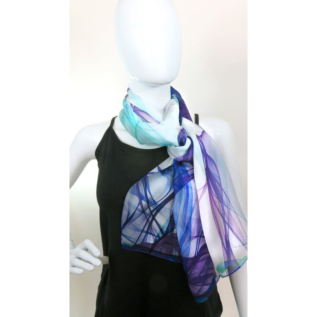 "Gift Idea for Woman, Long Silk Scarf, lightweight shawl, gift boxed, birthday gift, violet and aqua, ""Ink in Water"" -ScarvesByEllen"
