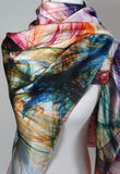 "Large Silk Scarf,  festival clothing, mens scarves, womens scarf, burningman, trippy, psychedelic scarves ""Knots Series 2"" design"