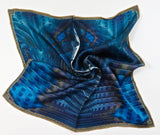 "Blue Silk Pocket Square, ""Altar"", 3D Fractal Neckerchief, Tarot Cloth - ScarvesByEllen"